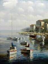 Sailboat Ship Harbor Nautical Original Canvas Oil Painting New Wall Art Work