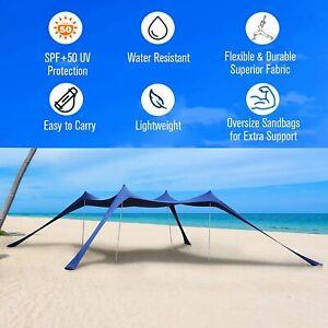Beach Tent Sun Shelter Portable Sun Shade Canopy Awning with Sandbag 10x10ft