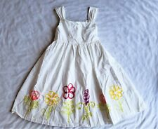 Children's Place Dress Girls Size 8 White Embroidered Ribbon Floral Boho Wedding