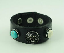 Echt Leder Chunk Armband inkl. drei Chunks in Schwarz Chunkarmband AB54