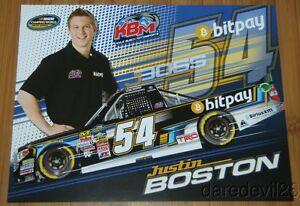 2015 Justin Boston BitPay Toyota Tundra NASCAR CWTS postcard