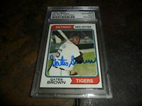 1974 Topps #389 Gates Brown Signed AUTO Detroit Tigers PSA/DNA Certified  D.2013