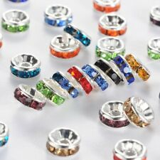 """Brass Rhinestone Beads, Grade """"A"""", Mixed Color Rhinestone, Silver Metal Color, N"""