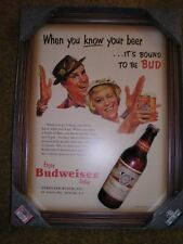 "Bud Budweiser Vintage Style Fishing Hats 3D Framed Retro Sign 18""X25"" Bar Beer"