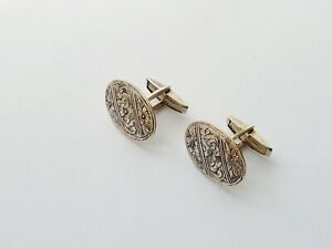 Lovely Vintage Silver 800 Engraved Oval Cufflinks 8gr