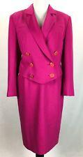 Louis Feraud Paris Suit Sz US 8 Euro 40 Vintage 1980 Pink Crop Jacket 100% Wool