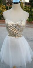 NWT WINDSOR $90 White / Gold Prom Dance Party Dress 9