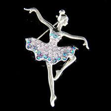 w Swarovski Crystal Purple BALLERINA Figure BALLET DANCER Pin Brooch Jewelry New