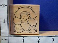 THANKSGIVING PILGRIM WOMAN JRL rubber stamp 14V