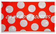 """3"""" Glitter Jumbo Cheer Team Dots Orange White Grosgrain Ribbon 4 Hairbow Bow"""