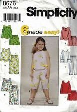 Simplicity 8679 6 Made Easy Child's Top Pants Shorts Size AA Toddler 2-4