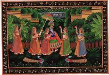 Radha Krishna Folk Art Handmade Indian Hindu Ethnic Religion Miniature Painting