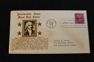 PRESIDENTIAL SERIES 1938 1ST DAY ISSUE JAMES MADISON CROSBY COVER (5246)