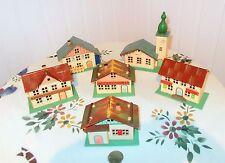 Vtg Erzgebirge Christmas Village Cardboard Print Houses w/ Wooden Bases Germany