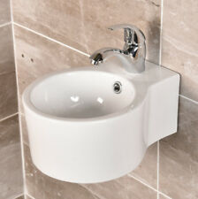 Wall Hung Round Vroma Basin Cloakroom Round Bowl White Ceramic 9098
