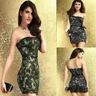 Strapless Casual Evening Party Floral Lace Dress Size 8 10 Sexy Stretch Bodycon