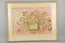Stilleben Aquarell Mischtechnik - Blumen im Korb bzw. in Vase - florales Bild /H