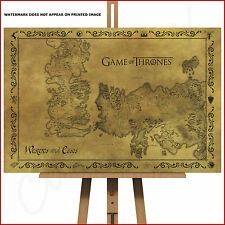 Game Of Thrones Large Framed Box Canvas Picture Print Poster Antique Fantasy Map