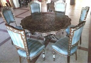 Medium Mother of Pearl Dining Table with 8 Chairs, Walnut Wood