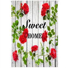 "Sweet Home Red Rose Flowers 12x18"" Garden Flag House Yard Banner Decor Flags"