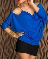 Damen Oversize Top Shirt lässig Ketten Träger open Arms 34/36/38 blau gold NEU