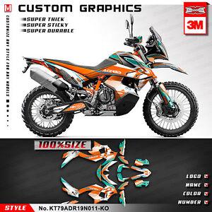 Full Graphics Custom Stickers Vinyl Decals for 790 Adventure R 2019 2020 Orange