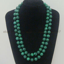 New Long 36 Inch 8mm Green Malachite Gemstone Beads Round necklaces