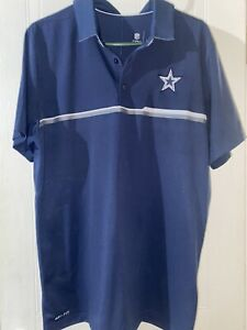 Nike Dallas Cowboys NFL Football Dri-Fit polo golf shirt men's large navy nwot