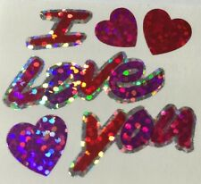 I LOVE YOU Prismatic Sticker Sheet(12pc)Hambly•Valentine •Lovers•Couples•Hearts