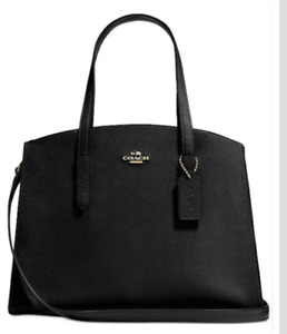 💚 COACH 25137 Charlie Medium Carryall Leather Tote Bag Shoulder Bag Crossbody