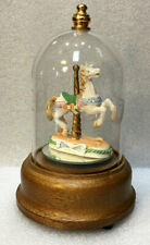 Carousel Horse Music Box Mirrored Wood Base Etched Glass Dome