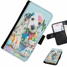 DOGB14 DALMATIAN DOG LEATHER WALLET/FLIP PHONE CASE COVER AVAILABLE FOR ALL MODE