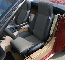 CHEVY CORVETTE C4 TYPE3 1984-1993 BLACK/CHARCOAL S.LEATHER CUSTOM FIT SEAT COVER