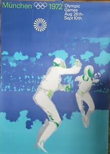 "ORIGINAL VINTAGE 1972 MUNICH OLYMPICS 33x47"" SUBWAY POSTER ~ FENCING A. GAEBELE"