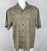 Fuslone Men's Size Large Green Tan Shirt Mandalas Button Front Short Sleeve Silk