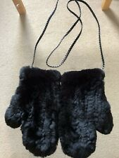 JOSEPH REAL RABBIT FUR MITTS GLOVES WITH LEATHER TIES HARRODS NEW £299 RARE