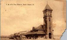 C.M. & St. Paul Station Train View Rock Island Il 1909 Vintage Postcard Dd1-341