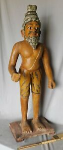 Antique papier mache tobacconist figure Asian Indian painted cigar store paper