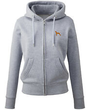 More details for hungarian vizsla clothing gifts embroidered ladies organic full zip hoodie