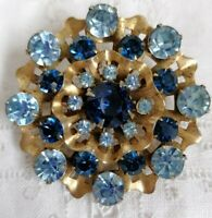 Vintage Blue Rhinestone Layered Gold Tone 50s Retro Unusual Statement Pin Brooch
