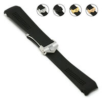 StrapsCo Perforated Silicone Rubber Watch Band for TAG Heuer Carrera