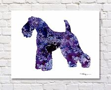 """Kerry Blue Terrier Abstract Watercolor 11"""" x 14"""" Art Print by Artist DJ Rogers"""