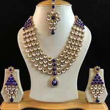 BLUE GOLD INDIAN KUNDAN COSTUME JEWELLERY NECKLACE EARRINGS CRYSTAL SET NEW 114