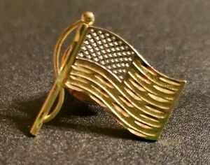 * 14K YELLOW & WHITE GOLD * AMERICAN FLAG PIN BROACH MENS OR WOMENS  USA