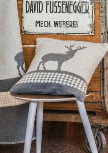 David Fussenegger Kissen Kissenhülle Hirsch filz hellgrau Landhaus 40 x 40