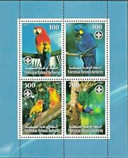Palestinian Authority, Birds, Different PARROTs, M/S MNH