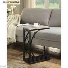 Slide Under Table End Accent Side Sofa Wood Metal Chair Snack C Tray Laptop