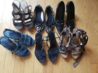 Lof of 5 EUC shoes and sandals all size 7 wedge flats Guess Aerosoles Nine West