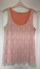 """""""Oasis"""" Vest Top, Size M, Peachy/Cream crochet lacey overlay & scalloped bottom"""