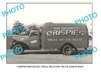 OLD LARGE PHOTO OF CRISPIES CEREAL TRUCK c1940 NSW